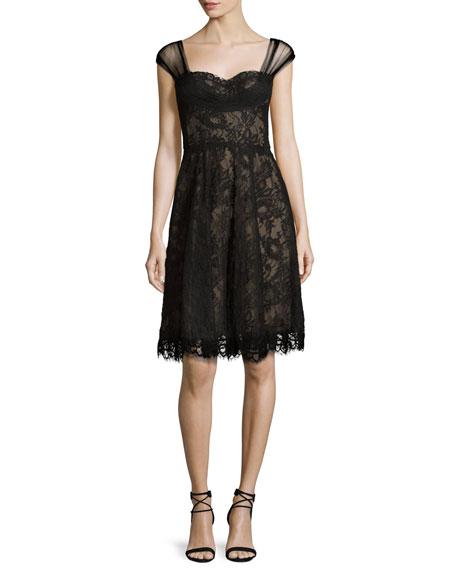 Lace Cross-Back Cocktail Dress, Noir