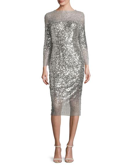 Monique Lhuillier Sequined 3 4 Sleeve Illusion Midi Dress