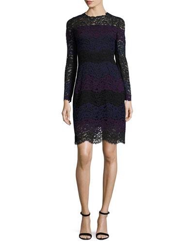Ophelia Striped Lace A-Line Dress, Jasmine Multi