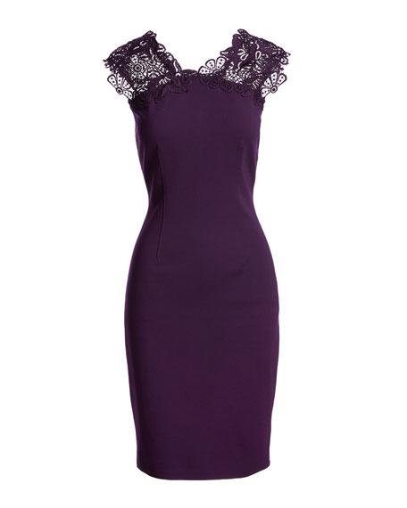 Rosaly Lace-Yoke Sheath Dress, Bordeaux
