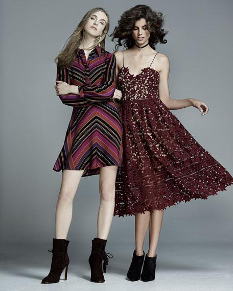 Diane von Furstenberg Chrissie Chevron-Stripe Shirtdress, Counterpointe Rubiate