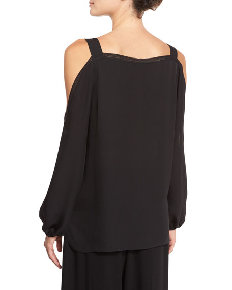 Lindy Lace-Trim Cold-Shoulder Silk Blouse