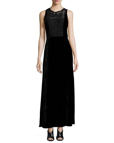 Kim Sleeveless Lace-Yoke Velvet Maxi Dress, Black