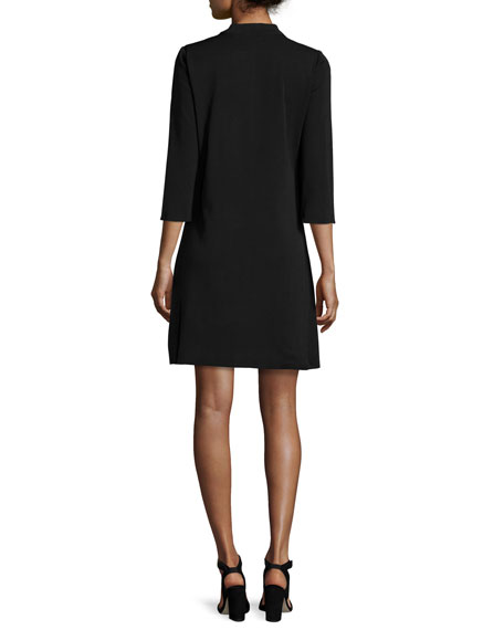 3/4-Sleeve Leather-Shoulder Shift Dress, Petite