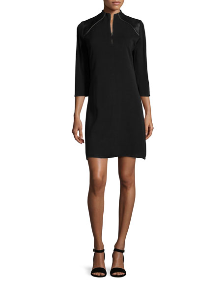 3/4-Sleeve Leather-Shoulder Shift Dress, Petite