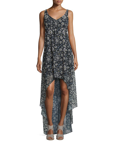 Sleeveless Floral High-Low Cocktail Dress, Black/Multicolor