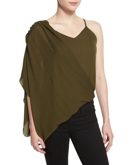 Haute Hippie Silk Asymmetric Wrap Camisole, Military