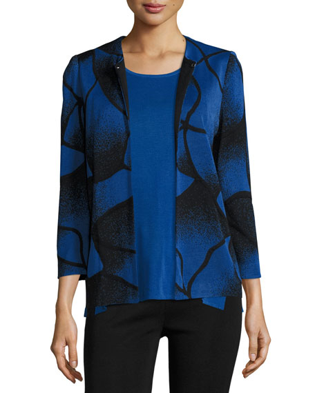 Ribbed Bracelet-Sleeve Jacket, Lyons Blue/Black, Plus Size