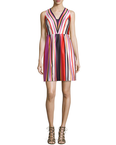 Printed Striped V-Neck Satin Dress, Red Multi