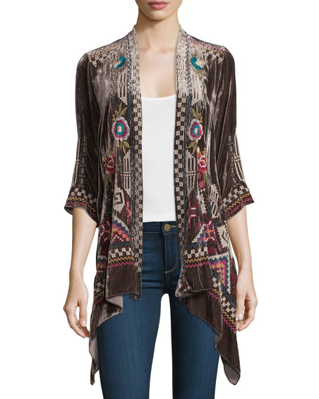 Dani Velvet Draped Cardigan, Plus Size