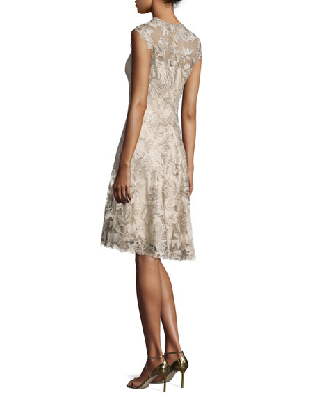 Sleeveless Embroidered Cocktail Dress, Latte/Gold