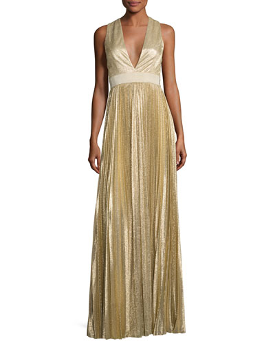 Sleeveless Pleated Metallic Gown, Light Gold