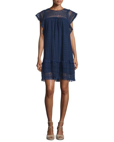 Hiche Crochet Butterfly-Sleeve Mini Dress