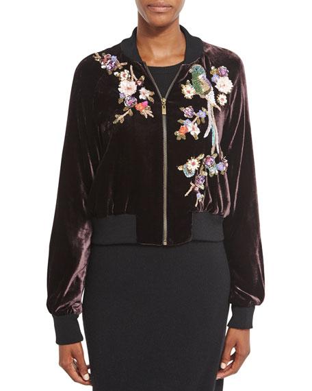 Embellished Velvet Bomber Jacket, Wine/Multi