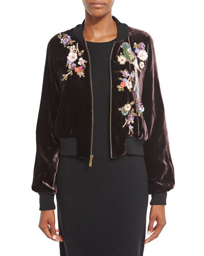 Embellished Velvet Bomber Jacket, Wine/Multi