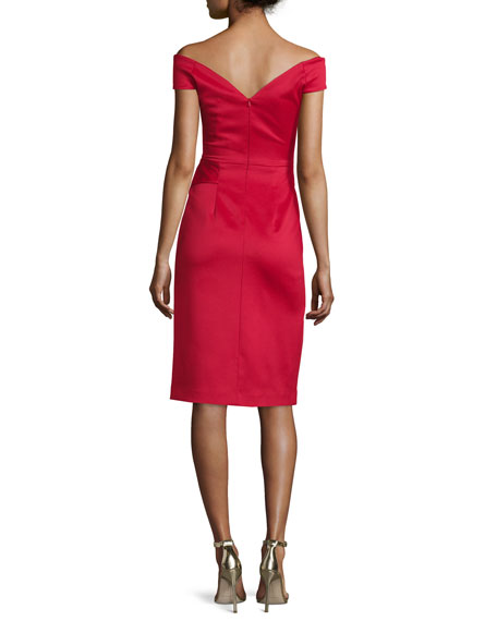 Off-the-Shoulder Draped Stretch Satin Sheath Dress, Molten