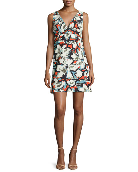 Sleeveless V-Neck Gardenia-Print Mini Dress, Multi