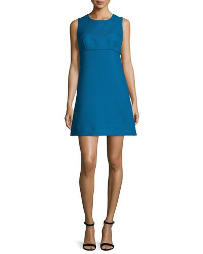 Sleeveless Sweetheart-Illusion Twill Mini Dress, Azure