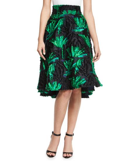 Milly High Waist Floral Leaf Skirt Green Black Neiman