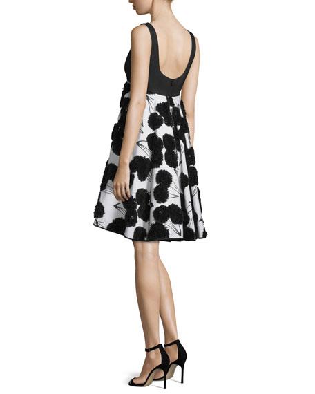 Sleeveless Dandelion Cocktail Dress, Black/White