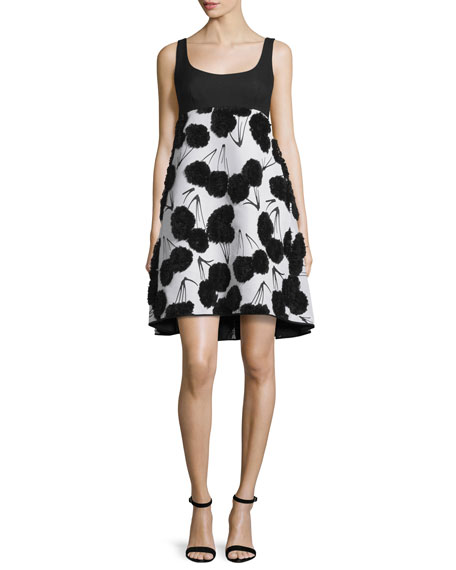 Sleeveless Dandelion Cocktail Dress, Black/White