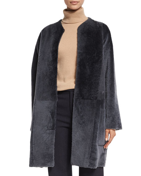 Reversible Shearling Fur Car Coat, Graphite