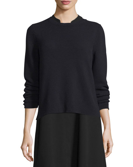 Eileen Fisher Long-Sleeve Nylon Cord Top, Black