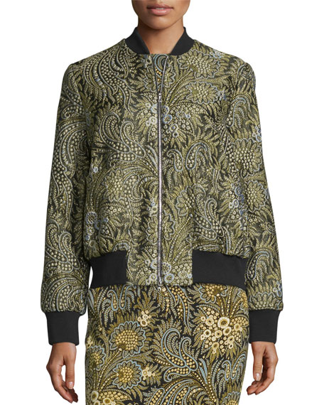 Paisley Bomber Jacket, Green