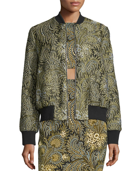 Suno Paisley Bomber Jacket & Short-Sleeve Stretch Silk