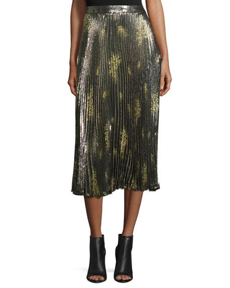 Floral Metallic Midi Skirt, Olive