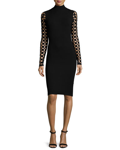 Lattice-Sleeve Mock-Neck Sheath Dress, Black