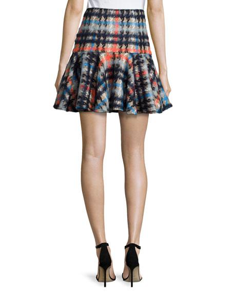 Pied-de-Poule Flounce Mini Skirt, Multi