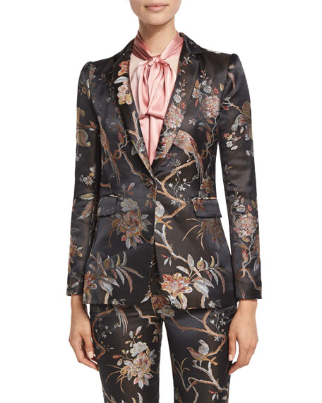 Macey Floral-Print Single-Button Blazer, Burgundy
