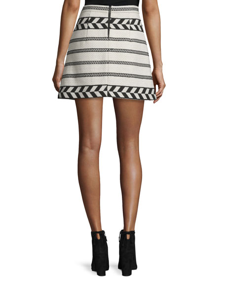 Daysi Abstract-Patterned A-Line Skirt