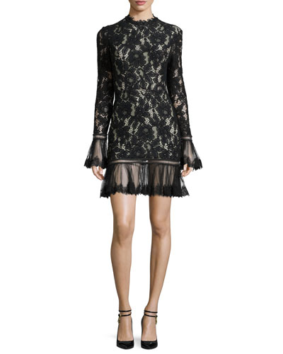 Nicole Long-Sleeve Floral-Lace Dress, Black