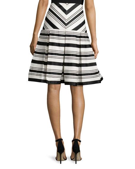 Emmerson Striped Box-Pleat Skirt, Black/White