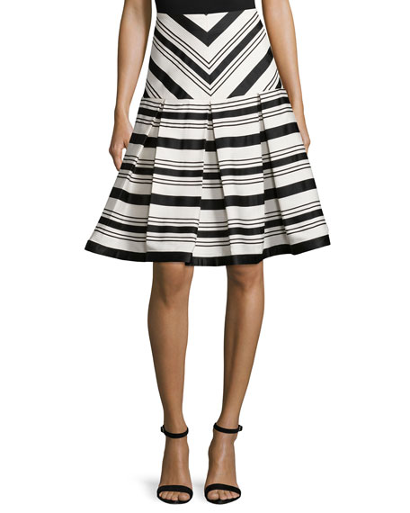 Alexis Emmerson Striped Box-Pleat Skirt, Black/White