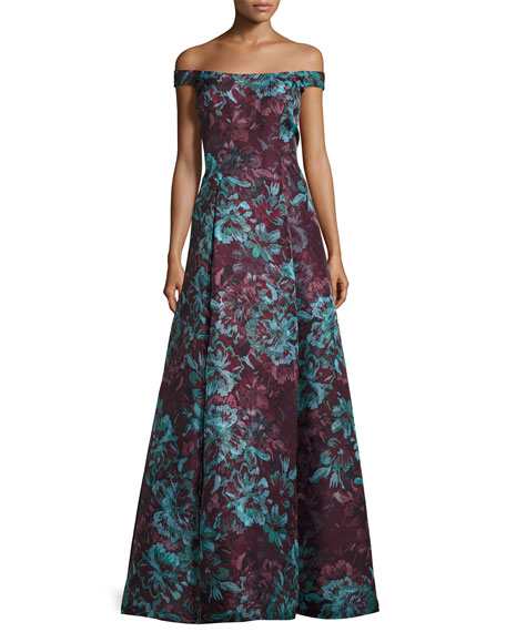 Aidan Mattox Floral Off The Shoulder Ball Gown Burgundy Neiman Marcus