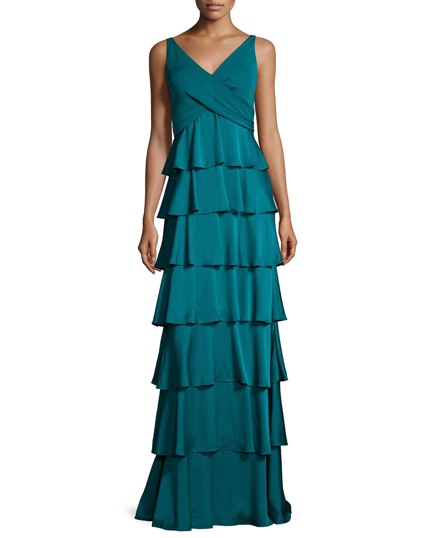 Aidan Mattox Sleeveless Tiered Column Gown, Dark Teal   Neiman Marcus