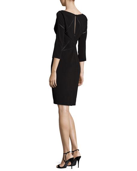 3/4-Sleeve Laser-Cut Jersey Dress, Black