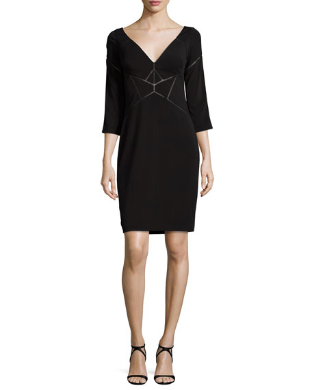 Aidan Mattox 3/4-Sleeve Laser-Cut Jersey Dress, Black