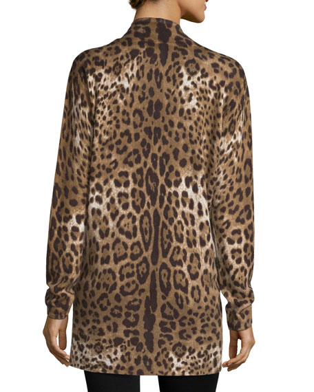 Neiman Marcus Cashmere Collection Leopard-Print Open Cashmere Cardigan