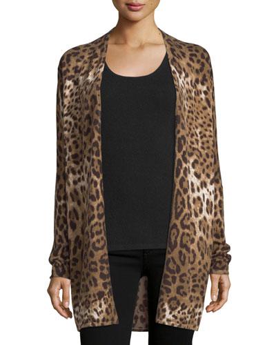 Open Cashmere Leopard Cardigan, Sand Multi