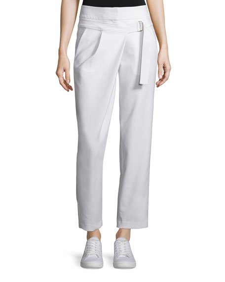 Kaufman Franco Belt-Detail Ankle Pants, Ivory
