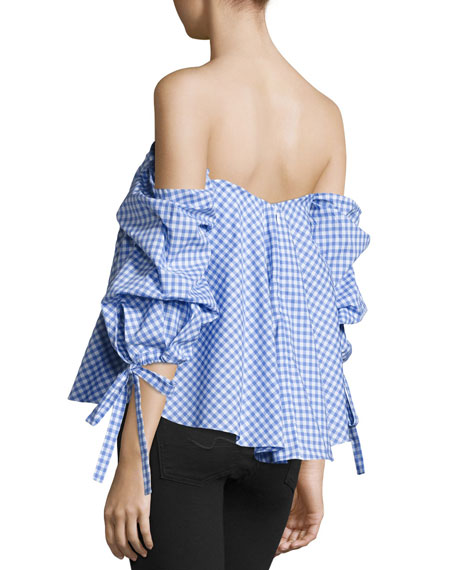 Image 3 of 3: Gabriella Off-The-Shoulder Gingham Bustier Top
