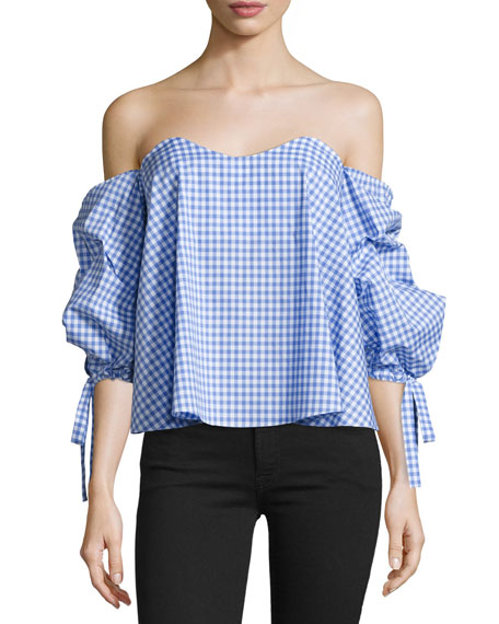 Caroline Constas Gabriella Off-The-Shoulder Gingham Bustier Top