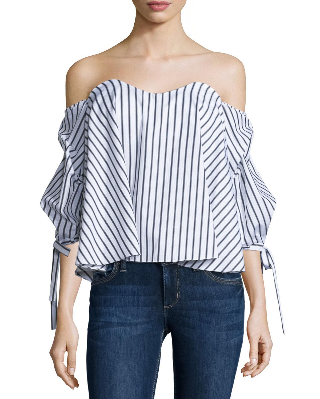 cb31a0896171a Caroline Constas Gabriella Off-The-Shoulder Striped Bustier Top ...