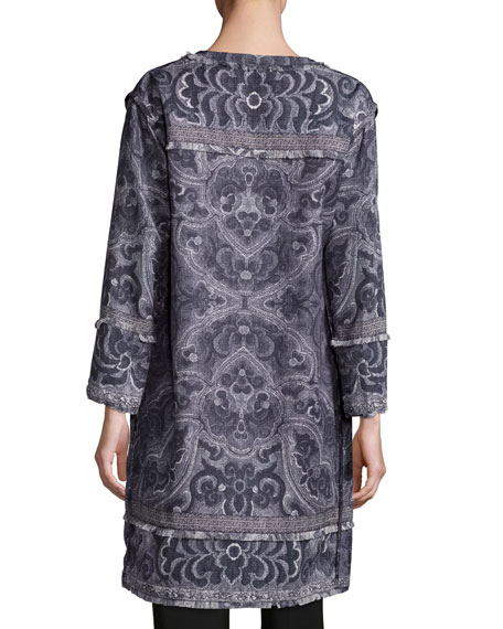 Bree Long Printed Coat, Black Multi