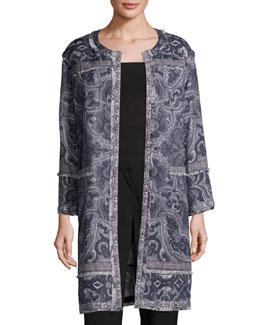 Bree Long Printed Coat, Black Multi