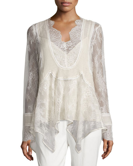 Haute Hippie Pintucked Chiffon Lace Blouse, Antique
